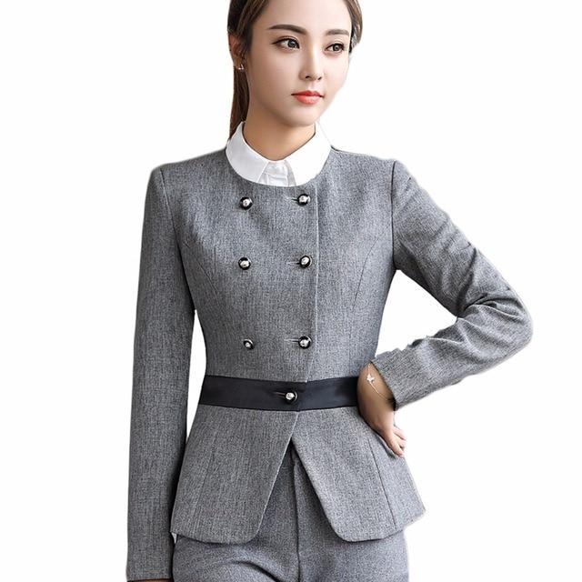 c507caf1b99e 2018 New Autumn Winter Women Blazer Fashion Long Sleeve Jacket Formal  Button Blazer Black Gray