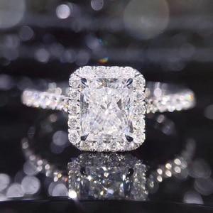 Image 2 - STARYEE 1CT Radiant Cut Moissanite Engagement Ring Real 18K White Gold Diamond Fine Jewelry For Women Charles Colvard VS F Gems