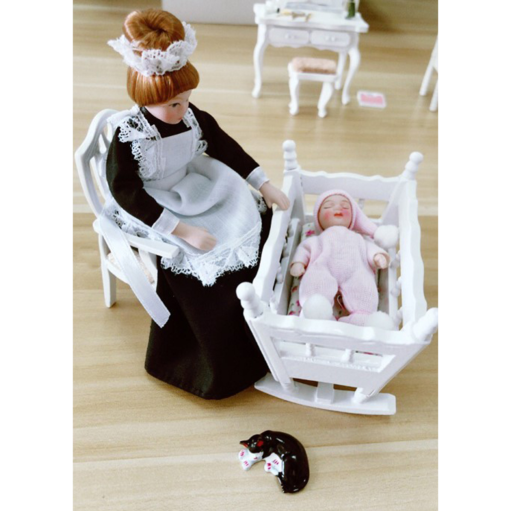1/12 Dollhouse Miniature Baby Bedroom Furniture Kit Cradle & Baby Doll & Victorian Servant Woman People Figures mini dollhouse mini furniture model living room doll baby baby doll