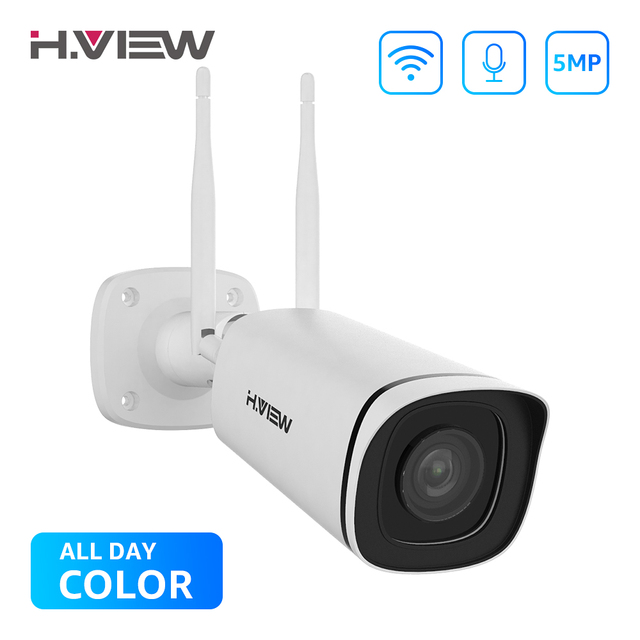 H.VIEW 5MP IP 카메라 와이파이 야외 2.4G 5G IP 카메라 와이파이 Onvif 풀 타임 컬러 CCTV 카메라 야외 H.265 CCTV 카메라 1080P