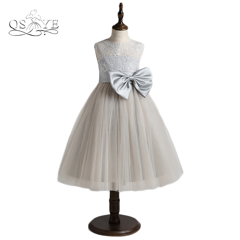 New Grey   Flower     Girls     Dresses   Real Photo A-line O-Neck Sleeveless Tea-Length Tulle   Girls   Communion   Dress   with Silver Bow