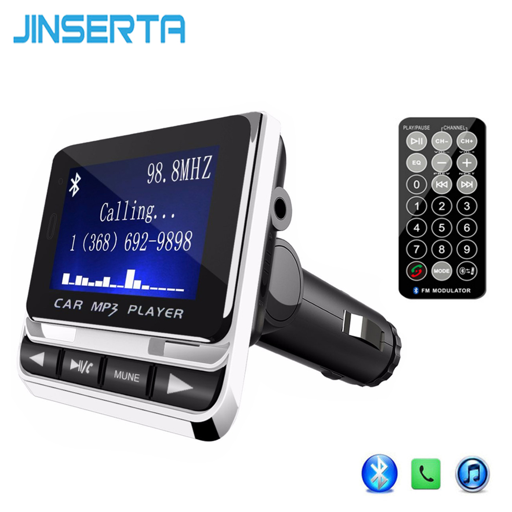 JINSERTA Wireless Bluetooth FM Transmitter Handsfree Car MP3 Player LCD Screen Car Kit USB Charger Support TF Line-in AUX