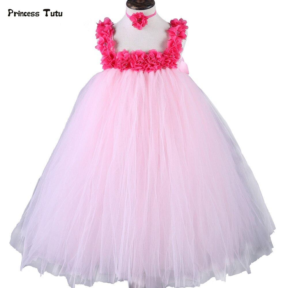 Cute Flower Fairy Girl Dress Pink Princess Tutu Dress Kids Party Birthday Photo Festival Ball Gown Wedding Flower Girl Dresses
