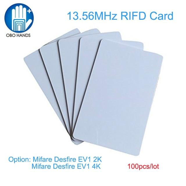(100 قطعة) OBO الأيدي عالية الجودة تتفاعل فارغة بولي كلوريد الفينيل بطاقة الائتمان حجم بطاقة 13.56MHz ميفار DESFIRE EV1 2 K/4 K رقاقة