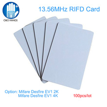 (100ピース) obo手高品質rfidブランクpvcクレジットカードサイズカード13.56 mhzのmifare desfire ev1 2 k/4 kチップ