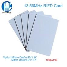 (100 stks) OBO HANDEN Hoge Kwaliteit Rfid Blanco PVC Creditcard Size Card 13.56 MHz MIFARE DESFIRE EV1 2 K/4 K Chip