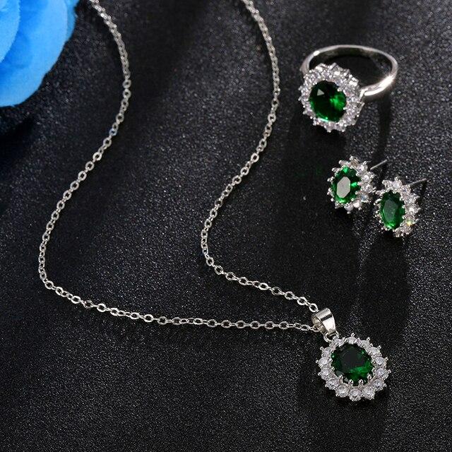 Conjuntos de joyas para novias, juego de collar de Color plateado con piedra de cristal azul a la moda, conjuntos de joyería africana 3