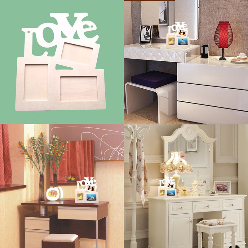 DIY Photo Frame Hollow Love Wooden Family Photo Picture Frames Blank DIY Paint Picture Photo Frame Home Decor
