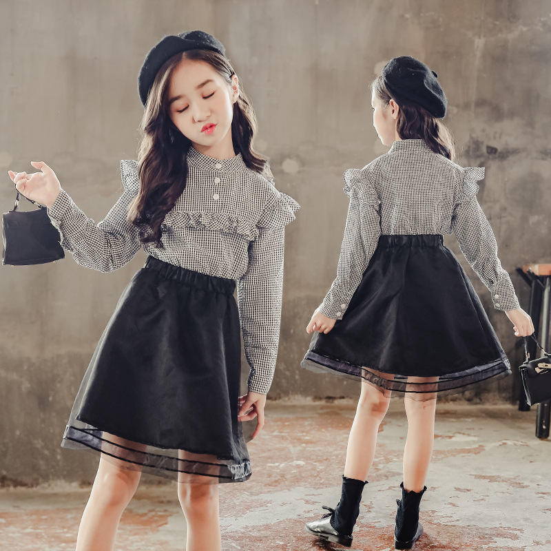 Girl Boutique Outfit Sets Fall Long Sleeve Plaid Shirt + Skirt 2pcs Kids Clothes Teenage Girls Clothing Ensemble Fille 6 8 10 12 classic plaid pattern shirt collar long sleeves slimming colorful shirt for men