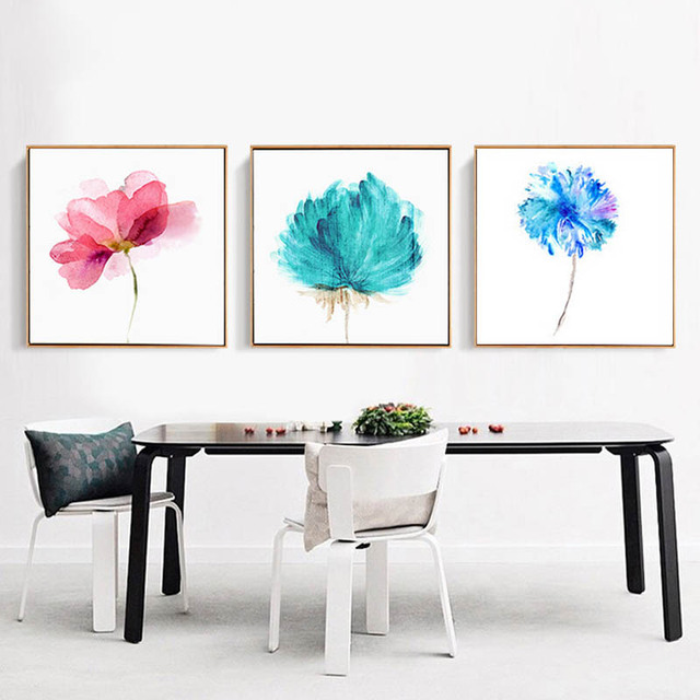 flower watercolor painting modern large print poster wall art canvas