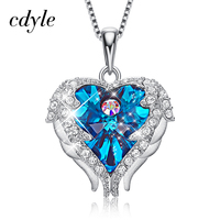 Cdyle Embellished with crystals Pendant Heart Necklaces Silver 925 Jewelry Collares Female Heart Pendant Necklace