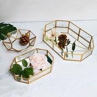European INS Retro Gold Bronze Hexagonal Box Glass Jewelry Box Home Decor Dessert Cake Display Box Plate Nordic Gold Tray