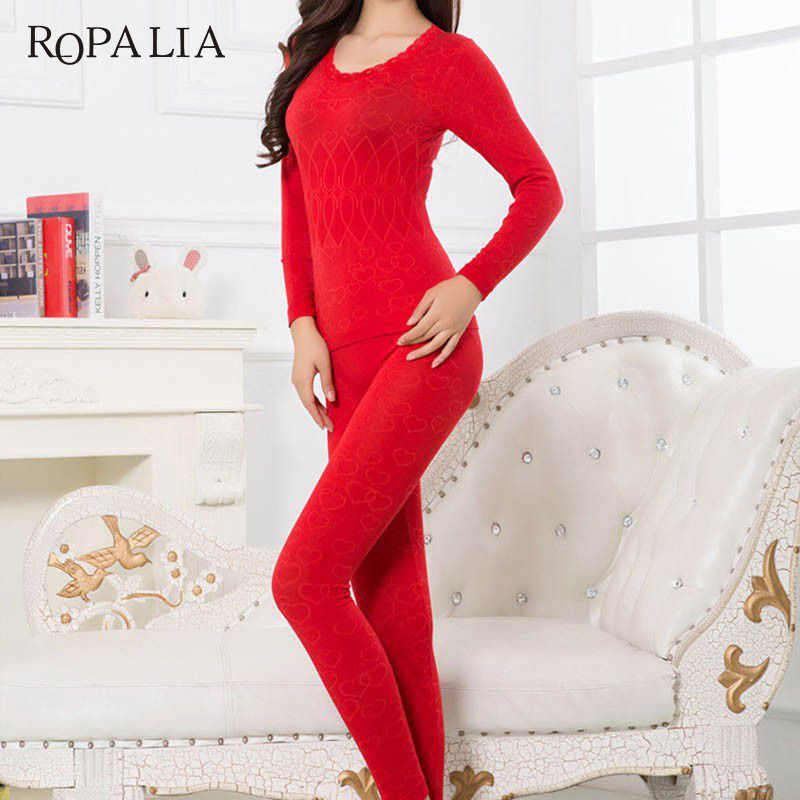 ROPALIA Women Warm Thermal Underwear Woman Long Johns Long Sleeve Thermal Clothing Underwears Sets