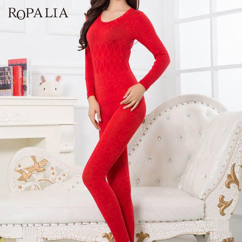 ROPALIA Women Warm Thermal Underwear Woman Long Johns Long Sleeve Thermal Clothing Underwears Sets