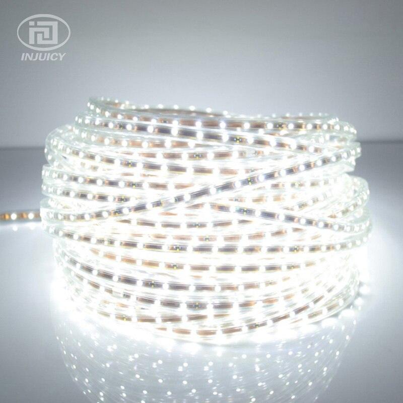 Haute qualité 3528 LED bande de lumière ruban ruban blanc chaud/blanc pur étanche Flexible bande LED smd lampe 60 LED s/M AC 220-240 V