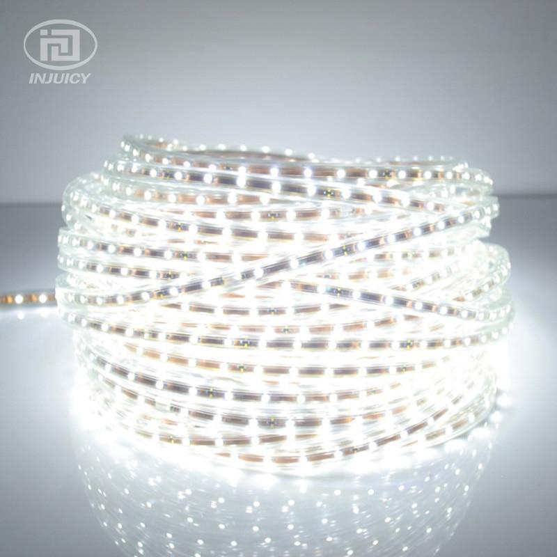 High Quality 3528 LED Strip Light Ribbon Tape Warm White/Pure White Waterproof Flexible SMD Led Strip Lamp 60leds/M AC 220 240V