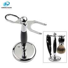 HAWARD Razor Accessories Men's Razor Stand Shaving Brush Holder Made Of High Quality Zinc Alloy & Black Resin