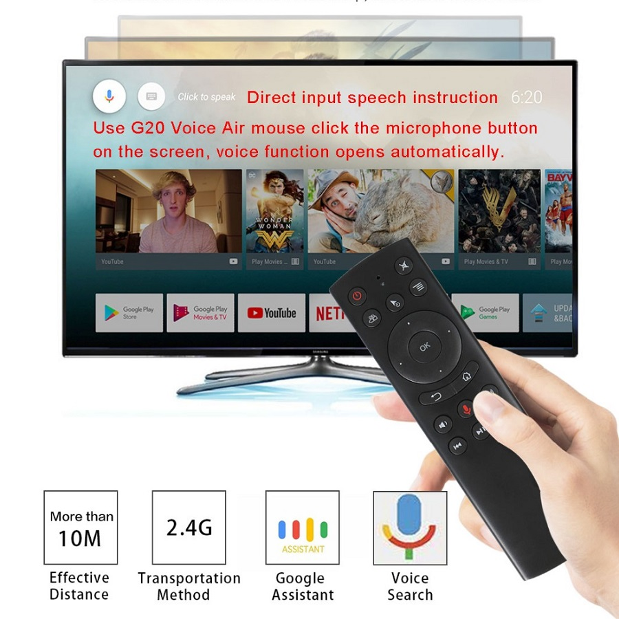 Funfuture Wireless G20S Air Mouse G20 Gyro Voice Control Universal Mini Keyboard tv Remote Control For PC Android TV Box vs <font><b>G10s</b></font> image
