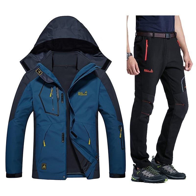 bad79d97b3 Winter Warm Ski suits Men Waterproof Fleece Snow Jackets Thermal Coat  Outdoor Mountain Snowboard Ski Jacket Pants Men Clothing-in Hiking Jackets  from Sports ...