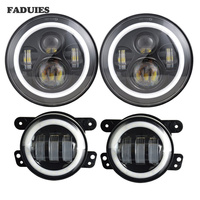 For 7inch Jeep LED Headlights with White DRL/Amber Turn Signal + 4 inch LED Fog Lights with White DRL Halo Ring