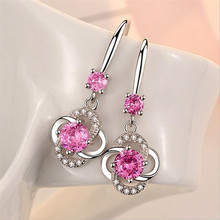 Everoyal Trendy Lady Crystal Pink Drop Earrings Jewelry Female Fashion 925 Sterling Silver Earring For Women Accessories Girls стоимость