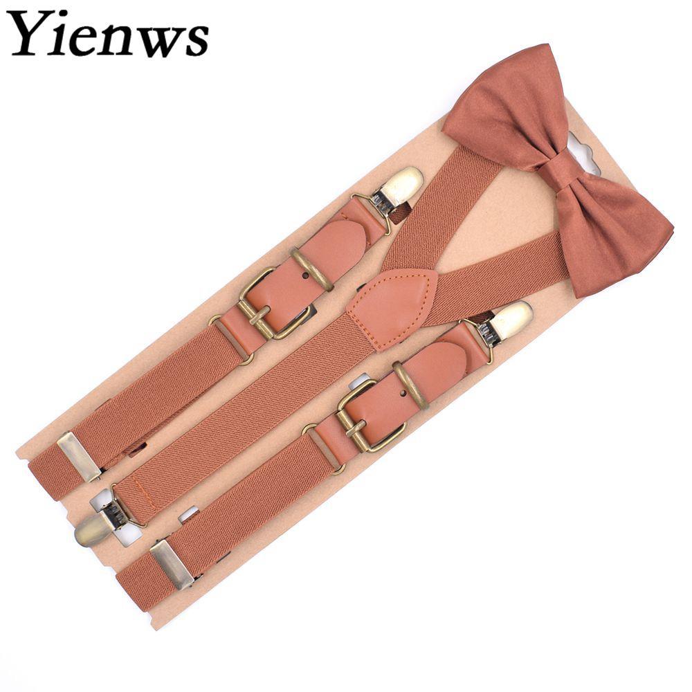 Yienws Bretels Bow Tie Suspenders For Men Vintage Brown Bowtie Braces Y Back Patch Leather Suspenders Wedding Party YiA096