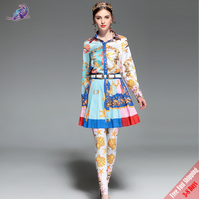 49446051a823 Fashion Runway Designer Suit 2018 Women Three-Pieces Set Sea world Printed  Tops and Skirt and Pants Set High Quality Free DHL