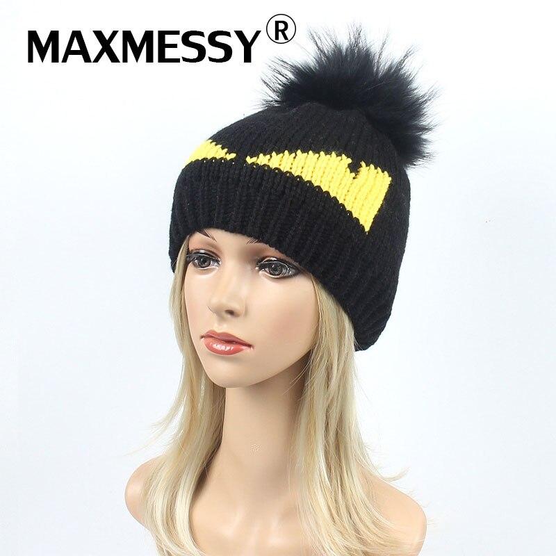 MAXMESSY Winter Women Cartoon Devil Eye Real Raccoon Dyed Fur Pompom Knitted   Skullies     Beanies   Cap Girls Thicken Warm Cute Hat