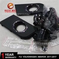 Car styling Halogen fog lights Car Black 2pcs Front Bumper Fog Light Cover Grille Fog Light Lamp for VW AMAROK 2011~2017