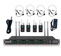 STARAUDIO SMU 4000B 4 Channel UHF Wireless Pro PA DJ Stage Church Party Lavaliere Headset Microphone System Mic