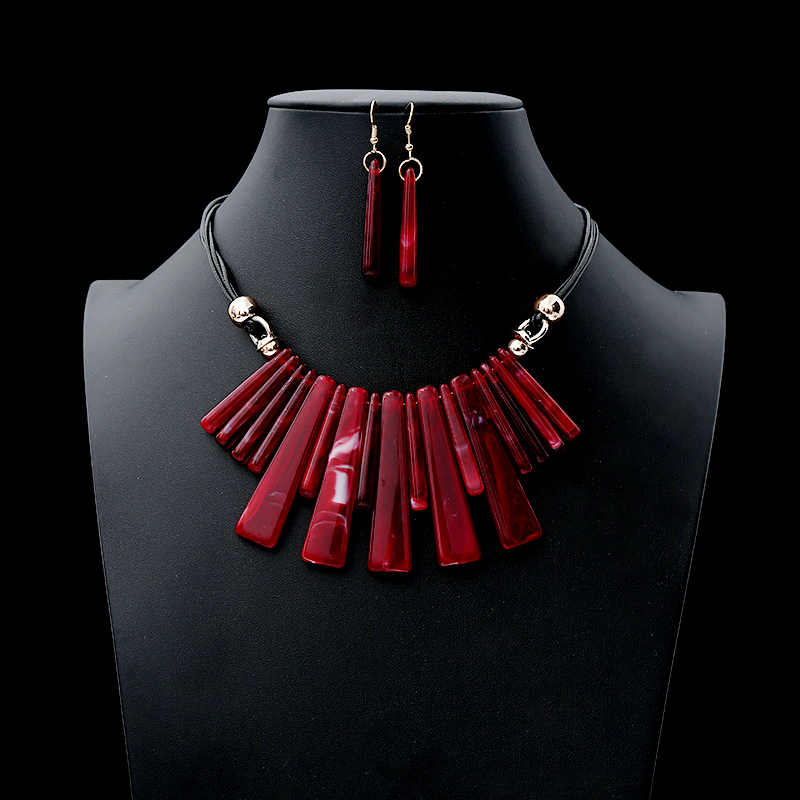 2019 Fashion New Acrylic Drop Jewelry Set Leather Rope Necklace Geometric Square Pendant Charm Earring Set Wedding Party