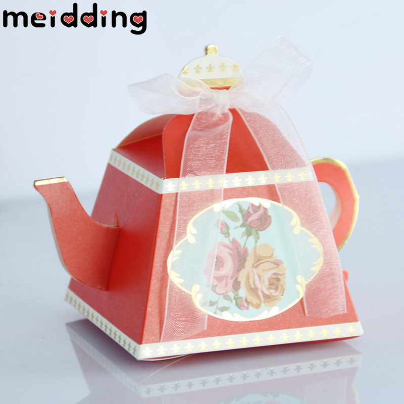 MEIDDING 10Pcs Birthday Party Candy Boxes Wedding Decoration Gift Box Teapot Box Party Favors For Kid Baby Shower Party Supply