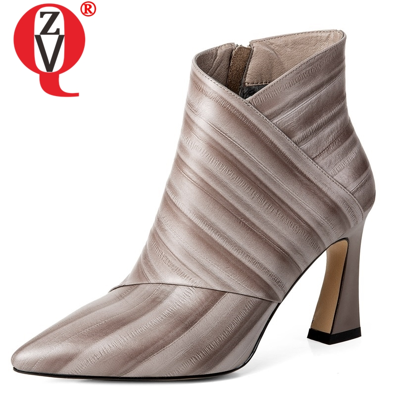 ZVQ 2018 winter new fashion sexy genuine leather women shoes striped pointed toe super high strange style zip work ankle bootsZVQ 2018 winter new fashion sexy genuine leather women shoes striped pointed toe super high strange style zip work ankle boots