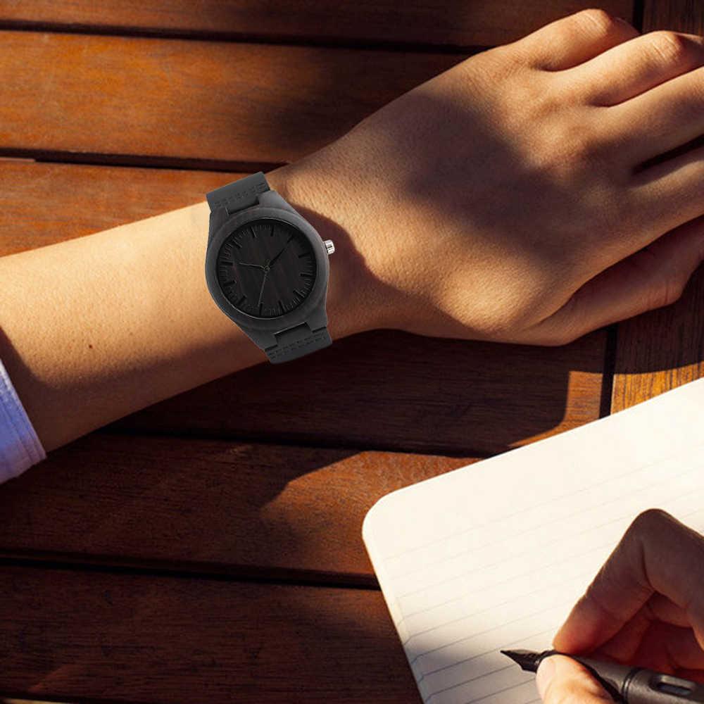 Reloj de pulsera de hombre de bambú hecho a mano de cuarzo con pulsera de cuero genuino para los hombres