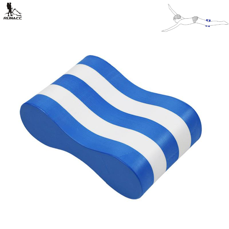 RUNACC Pull Buoy Portable Swim Pull Float Ergonomic Swimming Leg Buoys for Adults and Kids Blue and White