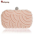 Free Shipping New Women's Retro Handmade Beaded Day Clutches. Fashion Pearl Diamond Wedding Handbag Purse. Party Evening Bag