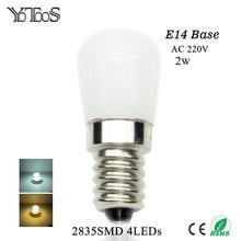 YOTOOS E14 LED Bulb 220V 2835SMD Led Light Replace Refrigerator Lamp Range Hood Sewing Machines Halogen Candle Lamp 360degree