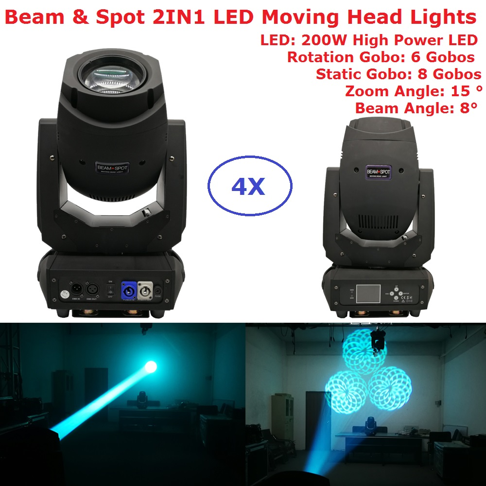 Factory Sales 200W Gobo LED Moving Head Beam Spot Lights 2 Gobo Wheel 15 Degree Zoom Angle For Professional Stage Lighting Shows niugul dmx stage light mini 10w led spot moving head light led patterns lamp dj disco lighting 10w led gobo lights chandelier