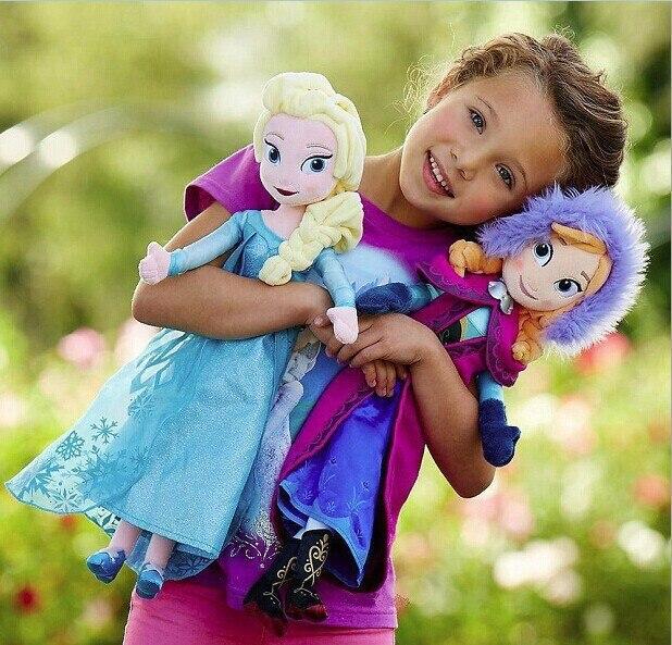 Moda quente original presentes originais de alta qualidade doce bonito meninas brinquedos princesa anna e elsa boneca pelucia boneca pelúcia elsa