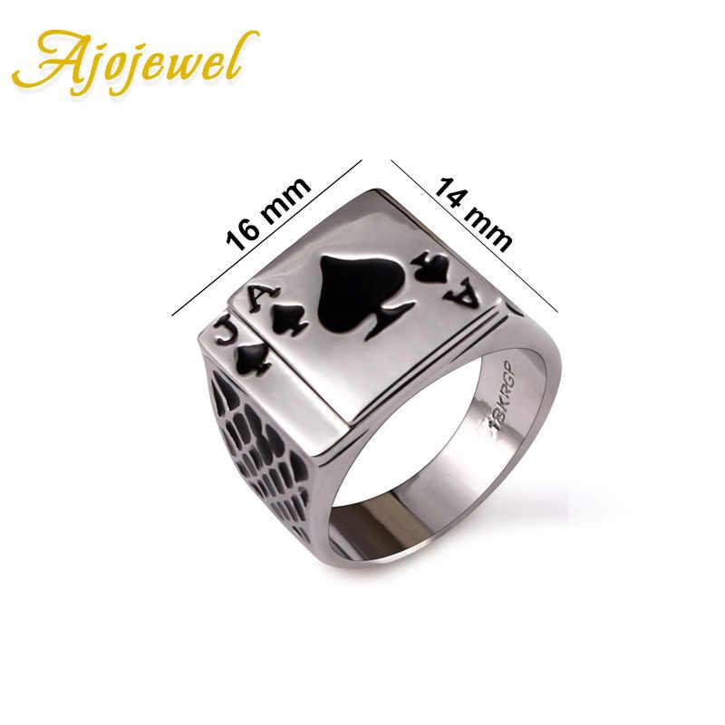 Jojewel clássico legal masculino jóias grossas esmalte preto espadas poker anel masculino ouro-cor