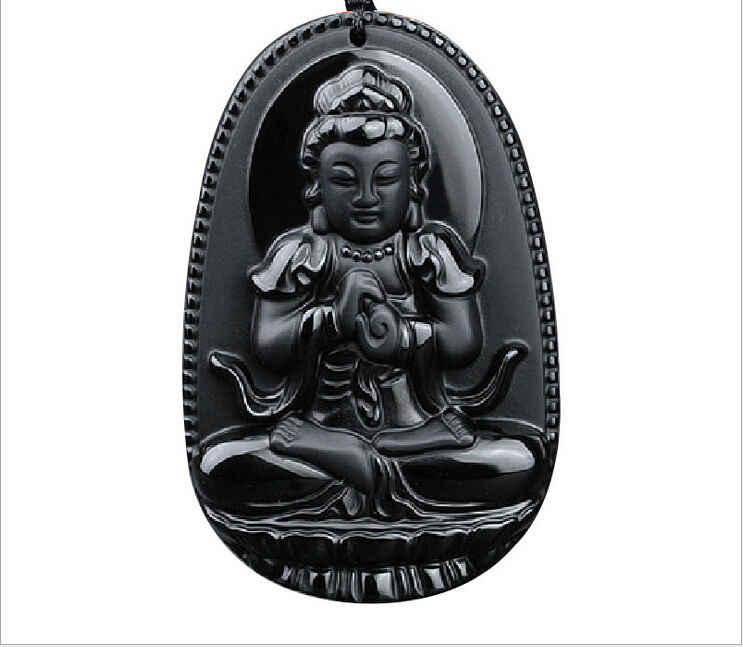 Zhmui88017 + + סיני טבעי השחור Obsidian מגולף GuanYin בודהה מזל תליוני שרשרת