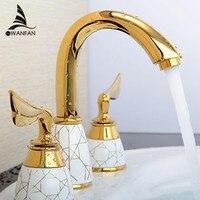 Luxo 3 Peça Conjunto Misturador Torneira Do Banheiro Deck Montado Sink torneira da Bacia Banheiro Torneira Conjunto de Ouro Finish Torneira Torneira Misturadora YS-618K