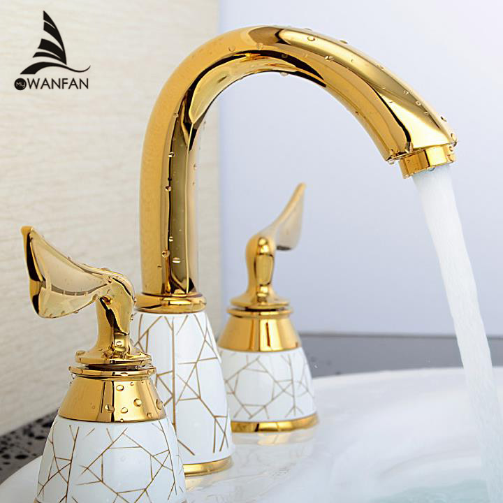 Luxury 3 Piece Set Faucet Bathroom Mixer Deck Mounted Sink Tap Basin Faucet S