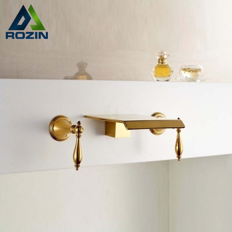 Gold-plate Widespread Wall Mounted Dual Handles Waterfall Basin Faucet Taps Bathroom Brass Mixer Water Faucet polished chrome waterfall flow bathroom sink basin mixer faucet double handles wall mounted mixer taps