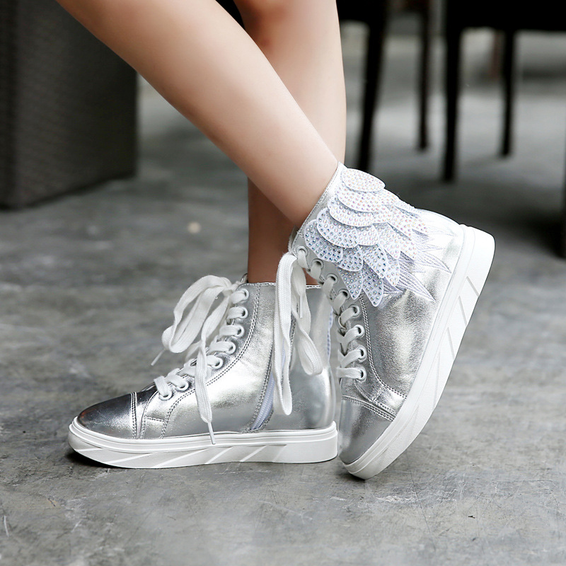 Children Martin Boots 2016 Autumn New High-top Kids Casual Shoes Fashion Diamond Feather Wings Girls Single Boots For Silver high quality new arrival 2016 fashion autumn children shoes martin leather boots boys girls shoes kids scrub boots 5 colors