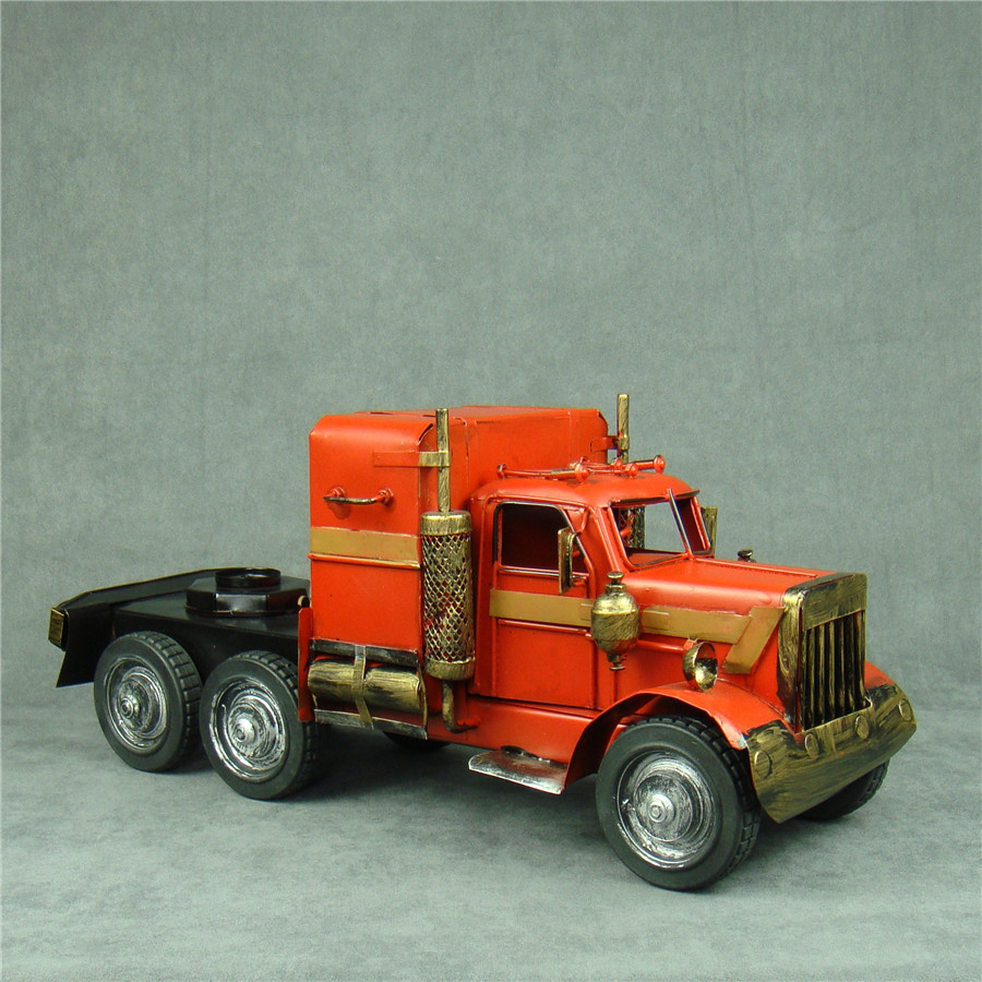 Handmade metal truck tractor model vintage iron art optimus prime lorry decor craft ornament gift for
