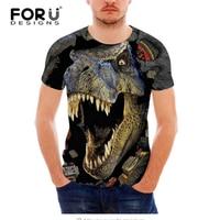 FORUDESIGNS Cool 3D Animal Dinosaur Wolf T Shirt For Men Funny Summer Short Sleeve Tee Shirt