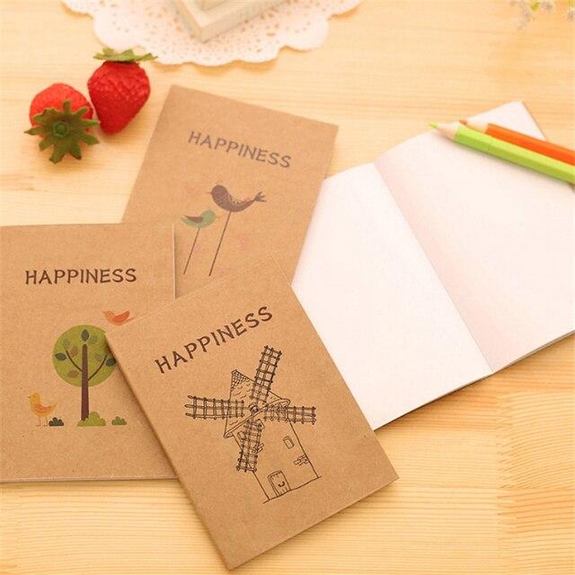 tree bird flower vintage notebook notepad blank page mini pocket