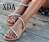 e3510972a9 ... Sapatos Roma Estilo Feminino sandálias flat. XDA New Plus Size 43  Sandals Summer Women Flip Flops Crystal Flower Casual Beach Flat With