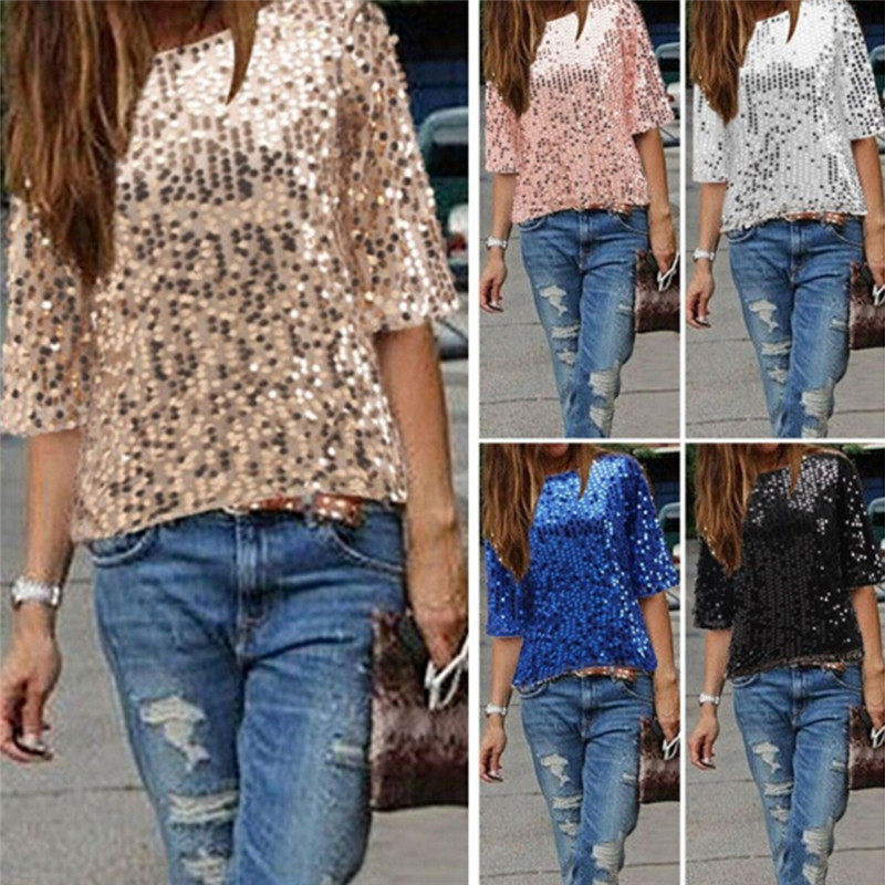 Dropwow HOT New 2018 Fashion Women Sexy Loose Off Shoulder Sequin Glitter  Summer Casual Shirts Vintage Streetwear Party Tops 0ca26adf15ab